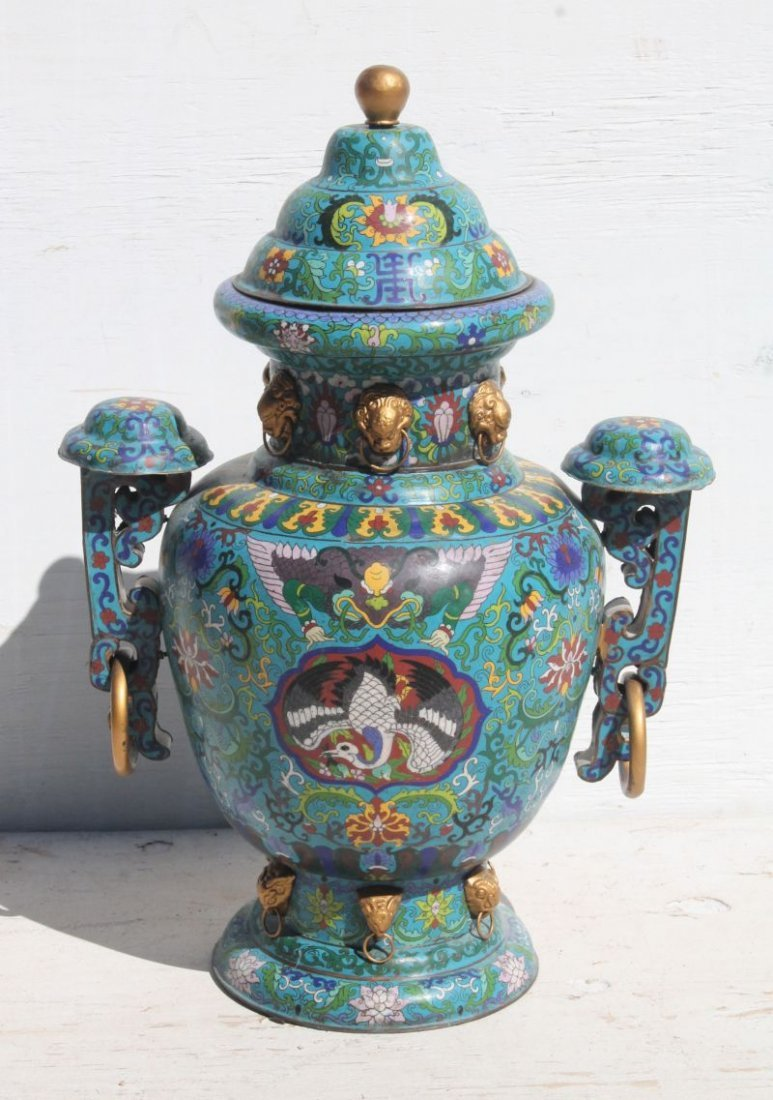 Monumental Chinese Cloisonne 2 handled temple urn w