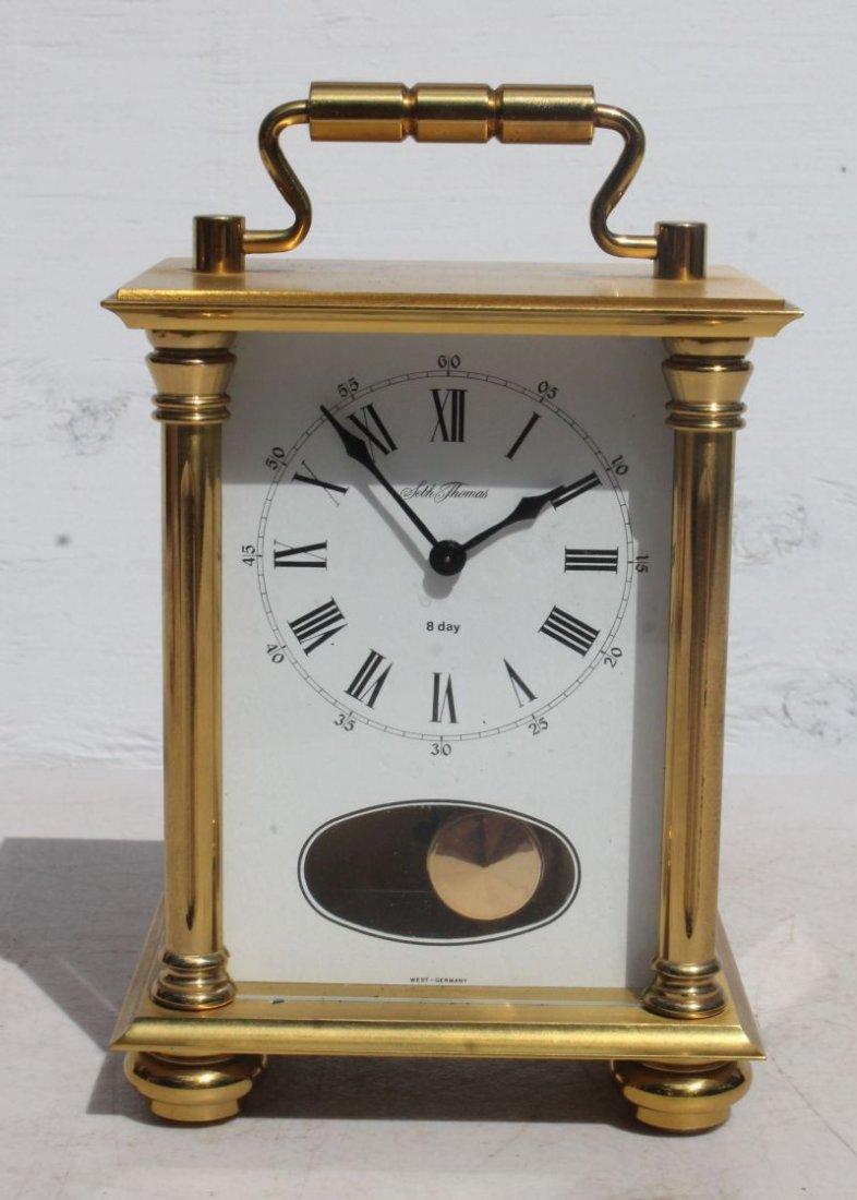 "Seth Thomas 8 day brass & glass carriage clock - 7"""