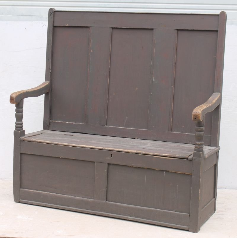 18thC pine carved fireside bench w lift top seat in old