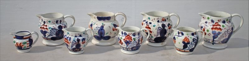 Wonderful set of 8 early 19thC Gaudy Welch graduated