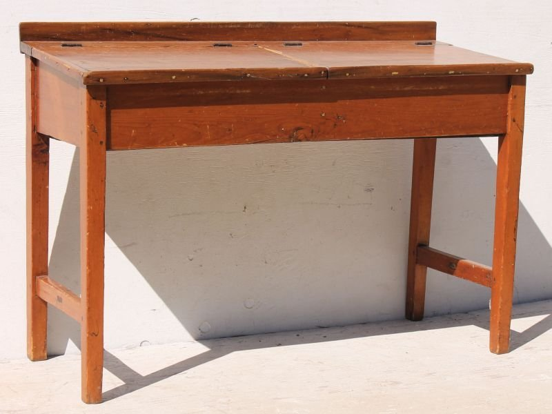 Early 19thC country pine rare form desk featuring 2