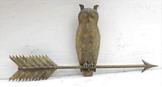 Rare  wonderful form early 20thC copper owl on arrow