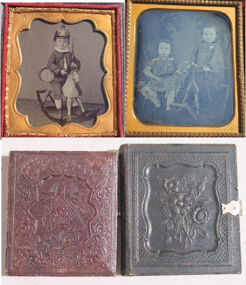 lot of 2 19thC photographs 1/6 size depicting children