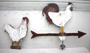 Folk Art rooster weathervane lot of 2, incl a carved
