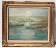 "Joseph Randolph Brown (1861-1953) 20""x24"" o/bd marshy"