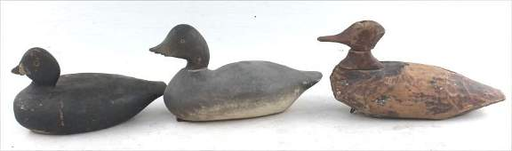 lot of 3 antique carved & orig painted duck decoys -