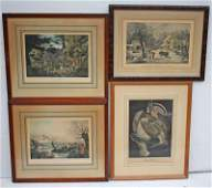 lot of 4 framed & matted prints incl 2 Currier & Ives -