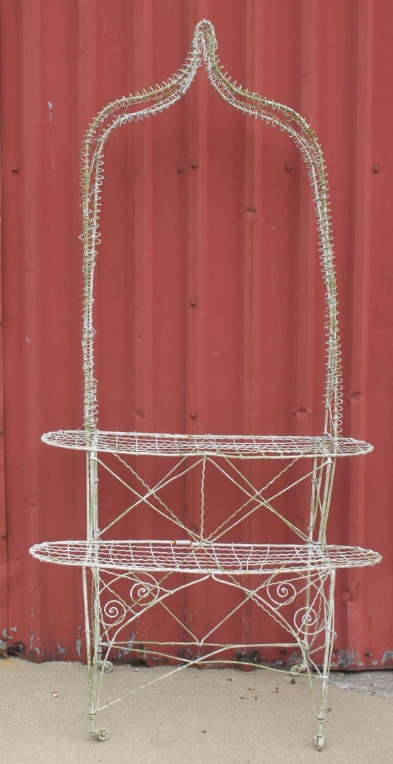 """antique French wire 2 tier planter w arbor - 70"""" tall x"""