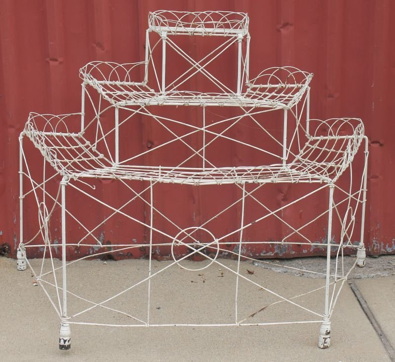 """antique French wire 3 tier demilune planter - 34"""" tall"""