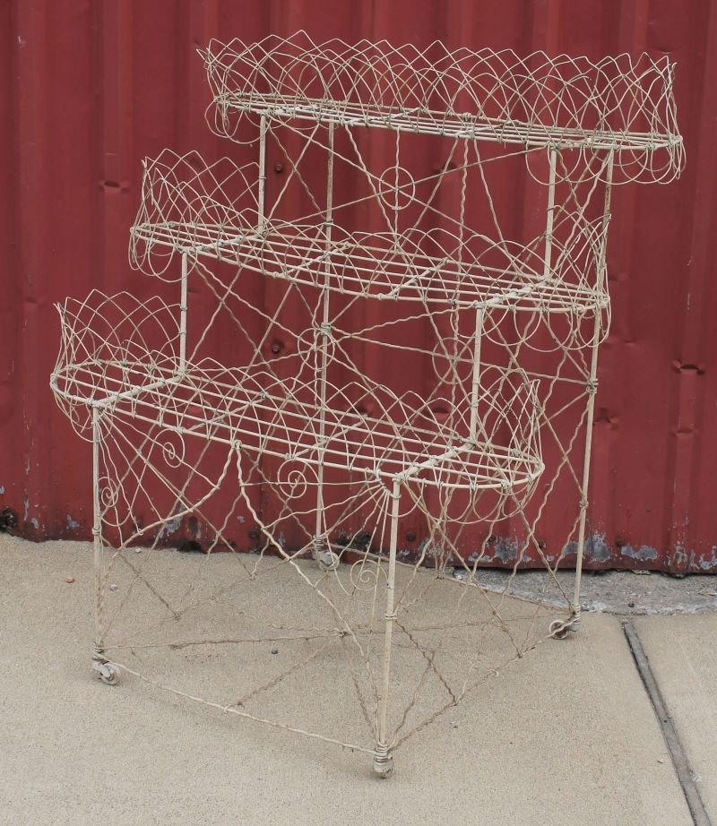3 antique French wire 3 tier planters - two are 39""