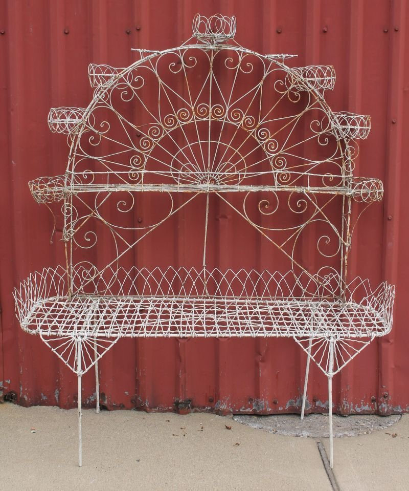 """antique French wire planter w fan shaped arch - 59"""""""
