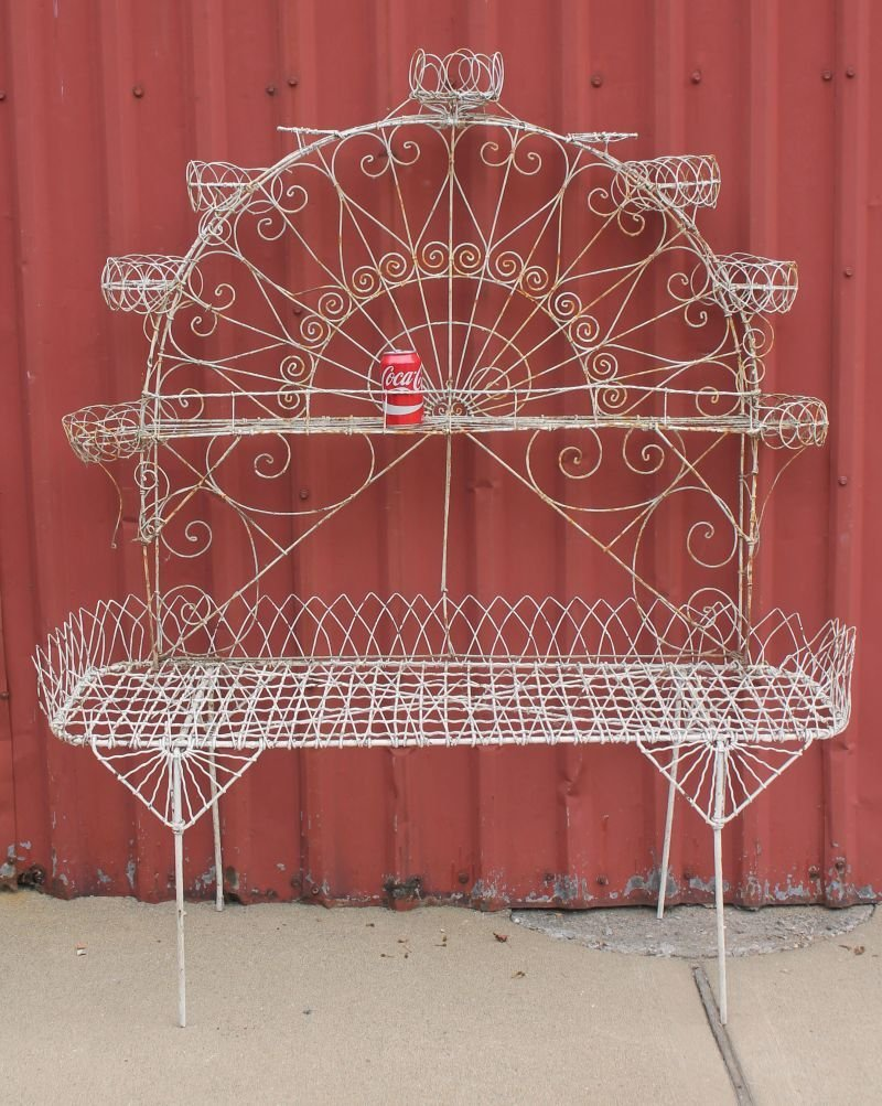 """antique French wire planter w fan shaped arch - 59"""" - 2"""
