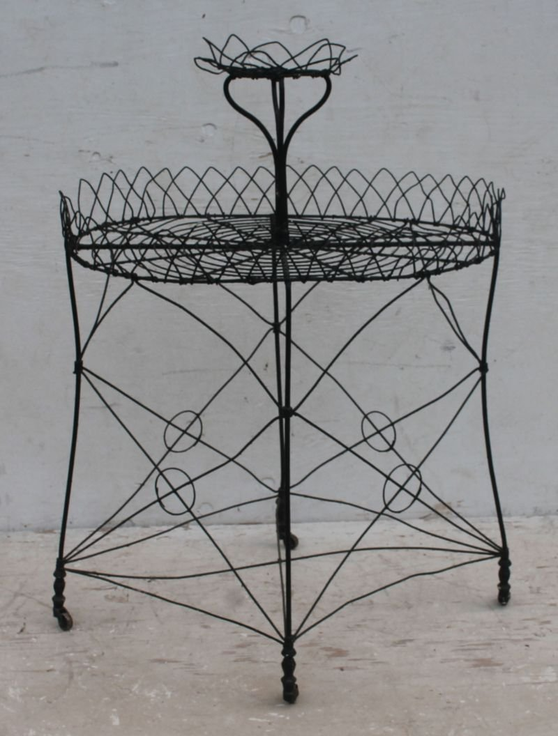 2 antique French wire oval planters w tiered flower pot