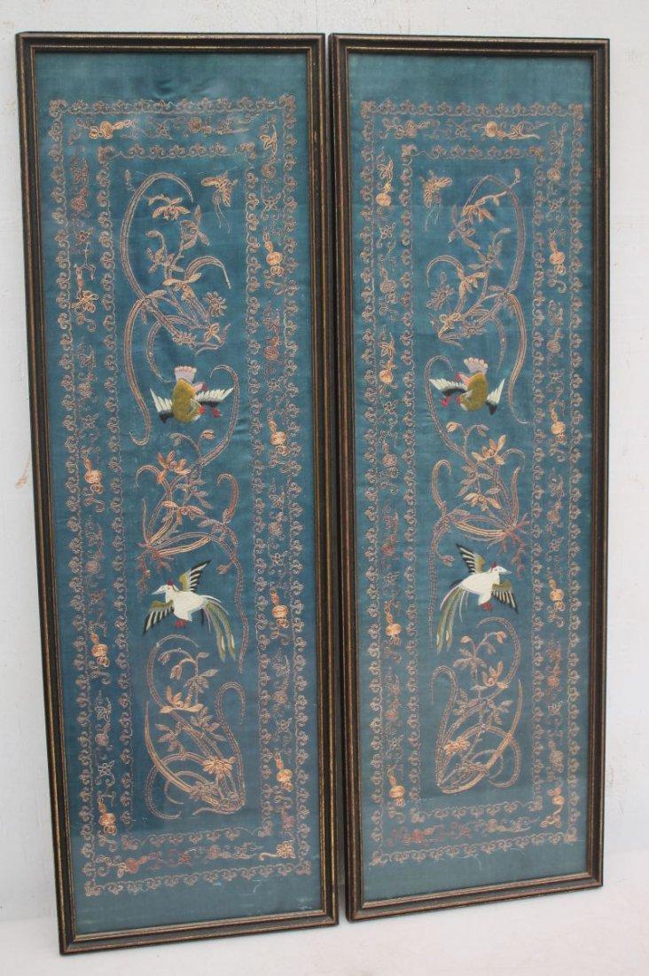 pr of antique Chinese turn of the century silk on silk