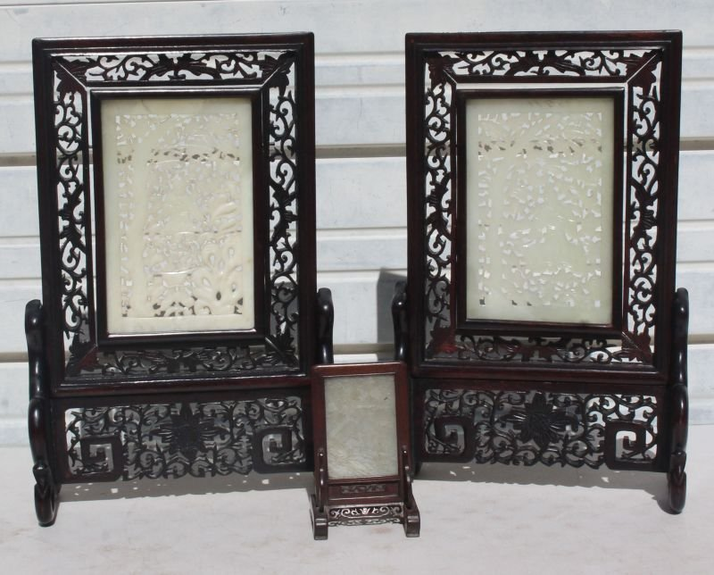 lot of 3 mid century Chinese jade screens incl a pr on