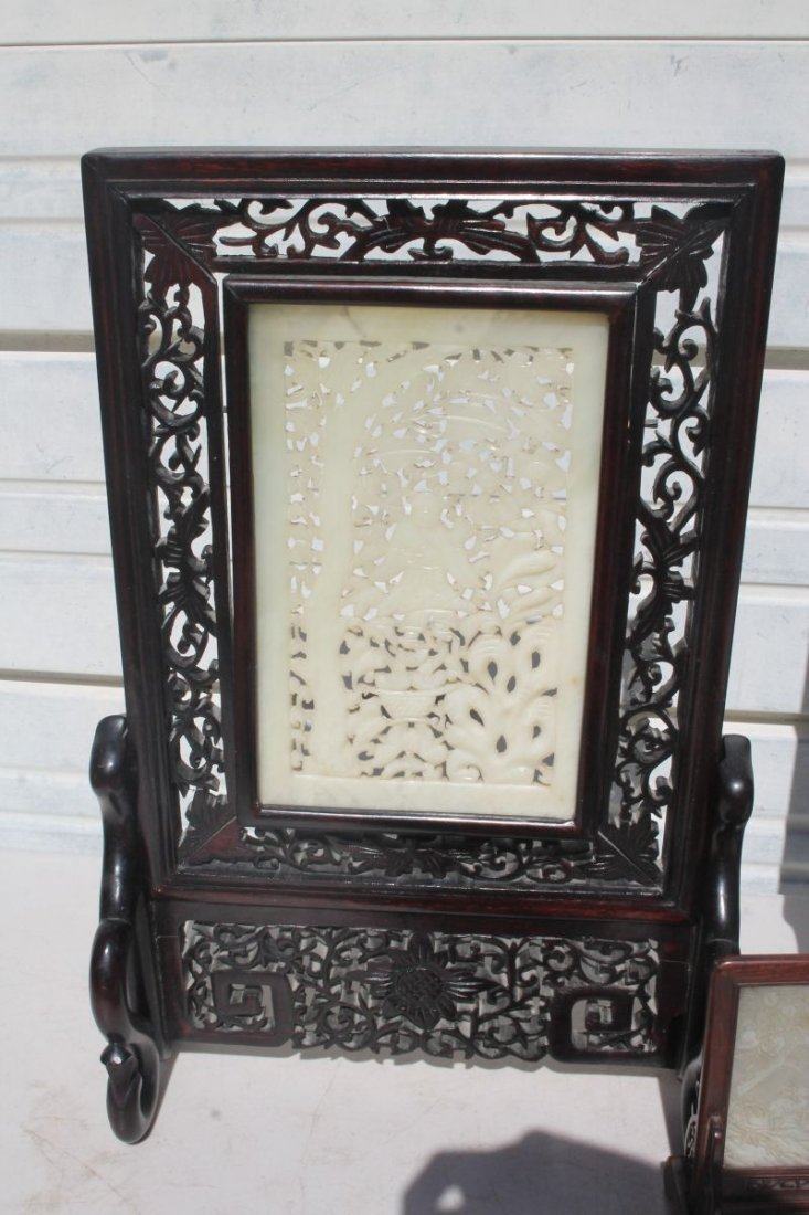 lot of 3 mid century Chinese jade screens incl a pr on - 2