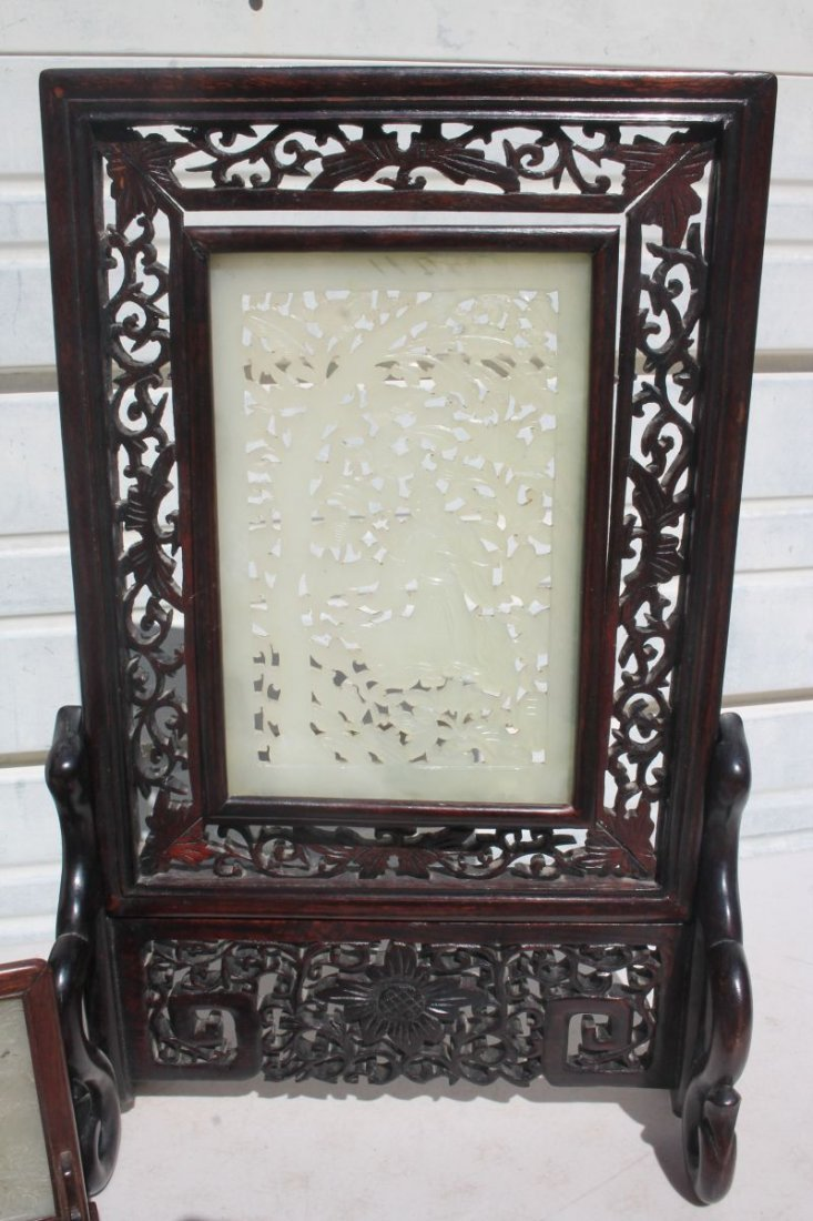 lot of 3 mid century Chinese jade screens incl a pr on - 4
