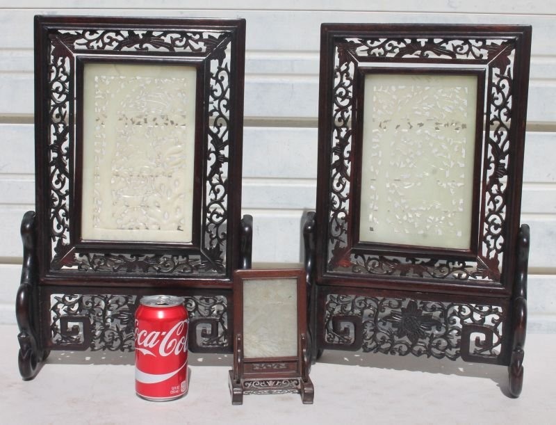 lot of 3 mid century Chinese jade screens incl a pr on - 5