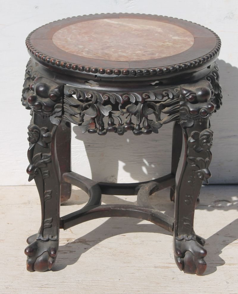 19thC Chinese carved rosewood & rouge round marble top
