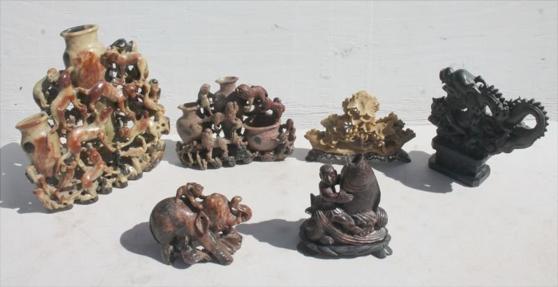 lot of 6 pcs of antique Chinese soapstone figures in