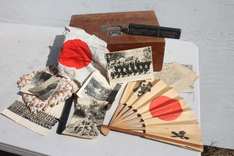 Japanese war chest w contents incl fan, photos (a