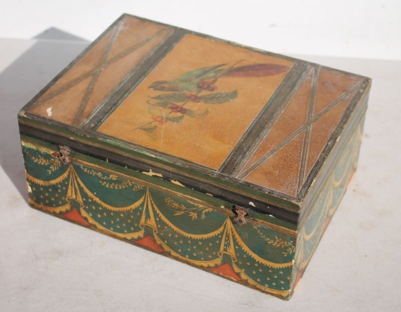 19thC jewelry box w fitted interior featuring all over
