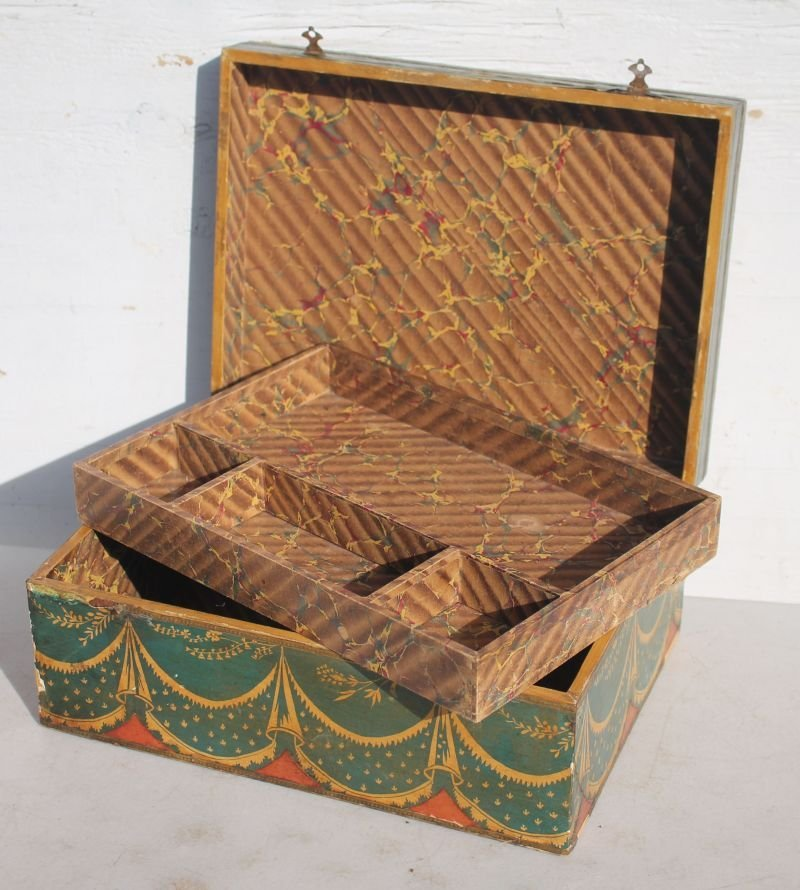 19thC jewelry box w fitted interior featuring all over - 2