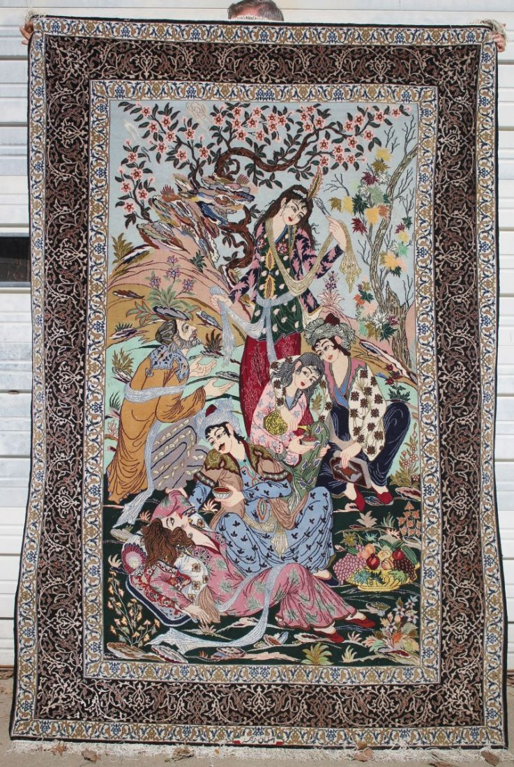 "5'2""x7'9"" exceptional quality Persian Tabriz pictoral"