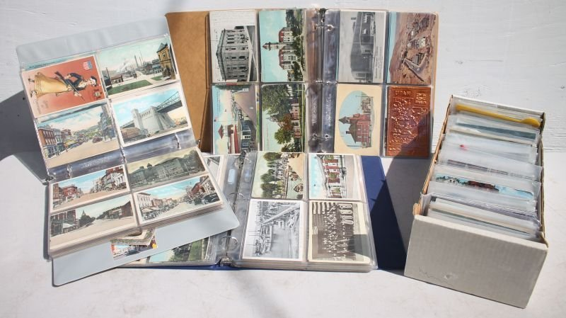 3 postcard albums featuring NY, NJ, MD, FL, LA, PA, OH,
