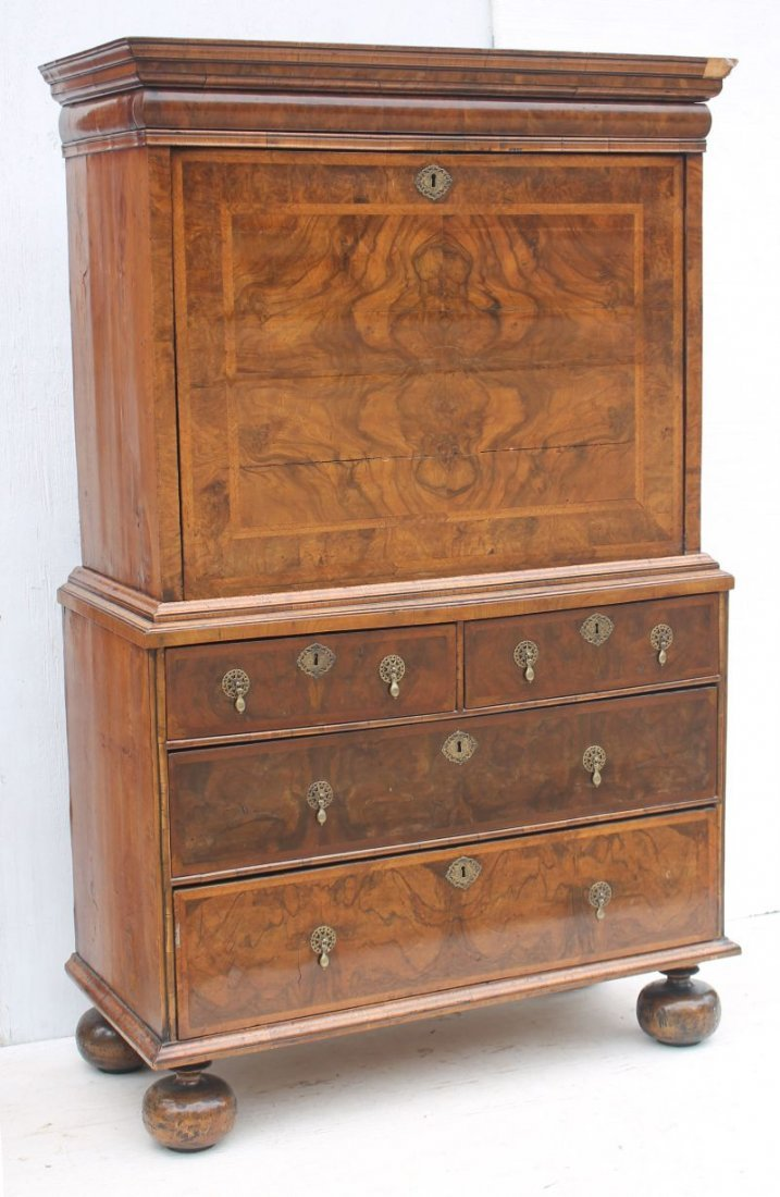 excellent 17thC English ball foot fall front secretary