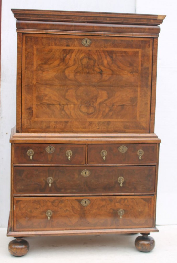 excellent 17thC English ball foot fall front secretary - 5