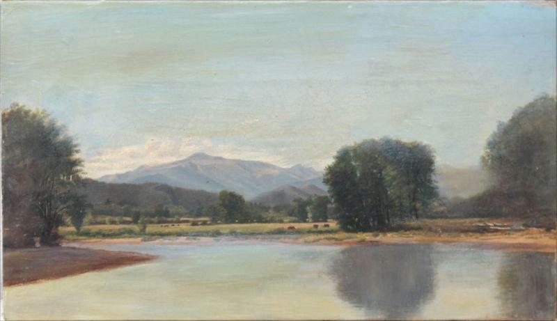"""John Frederick Kensett (1816-1872) 8""""x14"""" o/c White"""