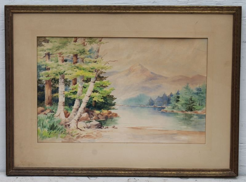 "White Mountain School 14""x22"" sight size antique w/c"