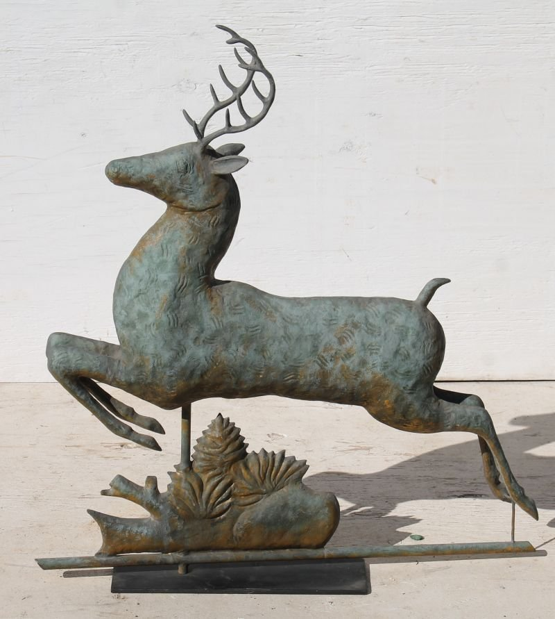 Fine early 20thC copper full bodied leaping stag