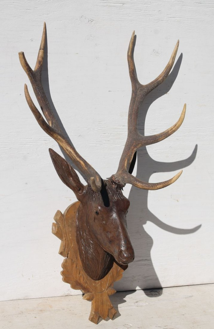 antique Black Forest carved walnut deer head - approx