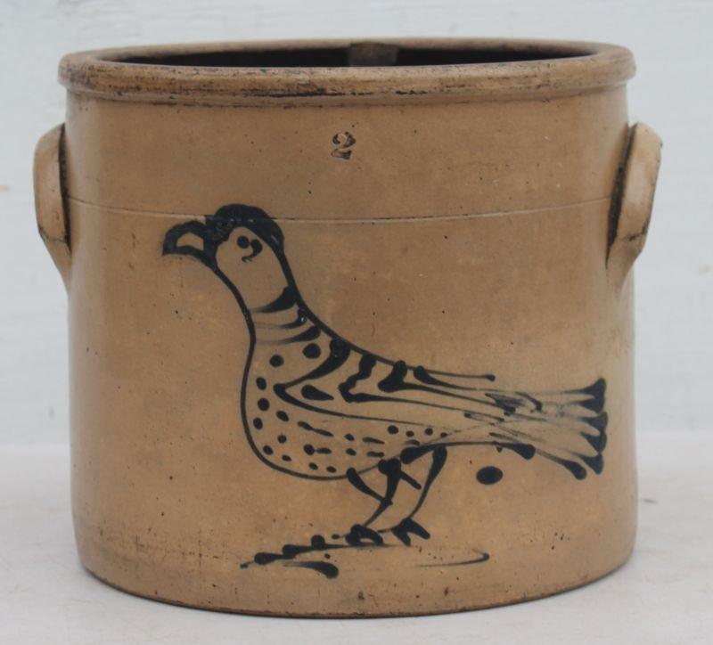 19thC 2 gal stoneware crock w cobalt carrier pigeon dec