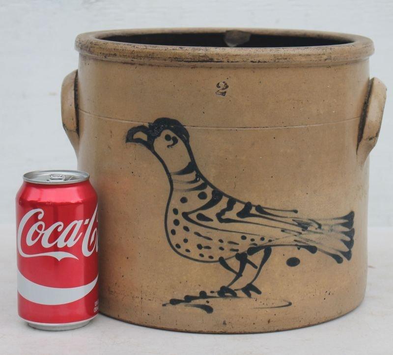 19thC 2 gal stoneware crock w cobalt carrier pigeon dec - 2