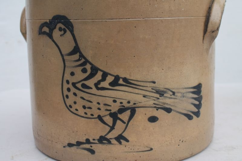 19thC 2 gal stoneware crock w cobalt carrier pigeon dec - 3