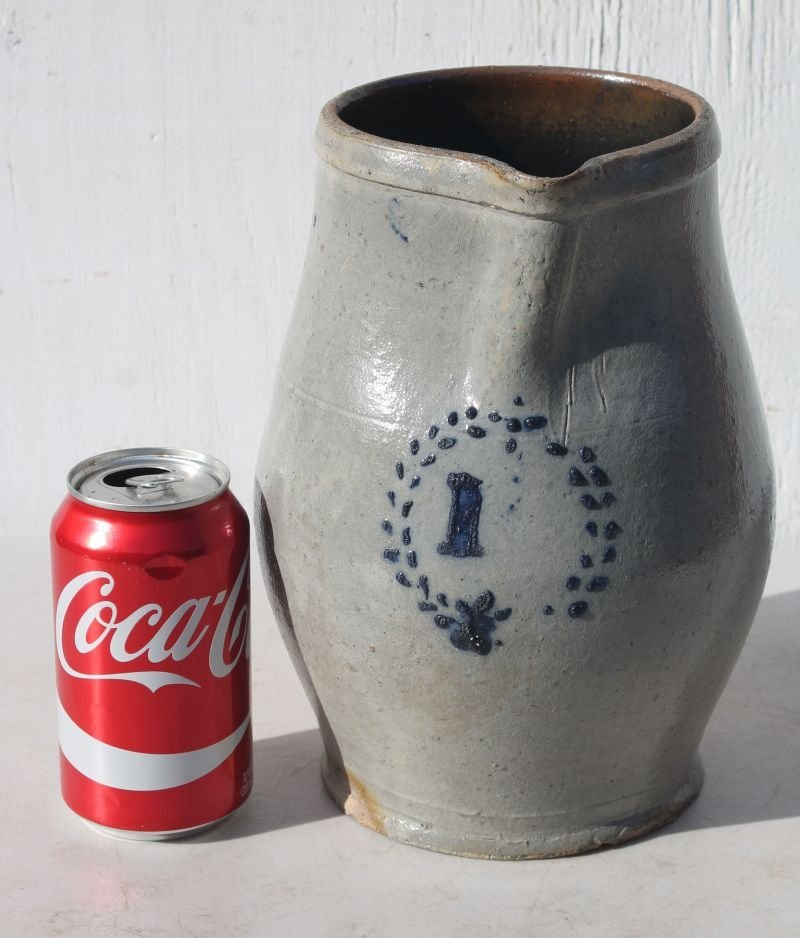 early ca 1820 CT stoneware pitcher in excellent glaze w - 2
