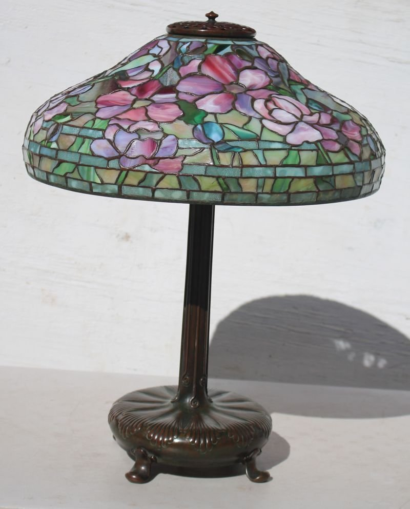 """Important mint condition fully sgnd Tiffany 18"""" Peony"""