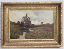 """19thC 12""""x18"""" o/c brook in meadow landscape - well"""