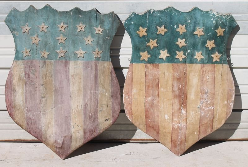 pr of wooden carved Patriotic red, white & blue parade