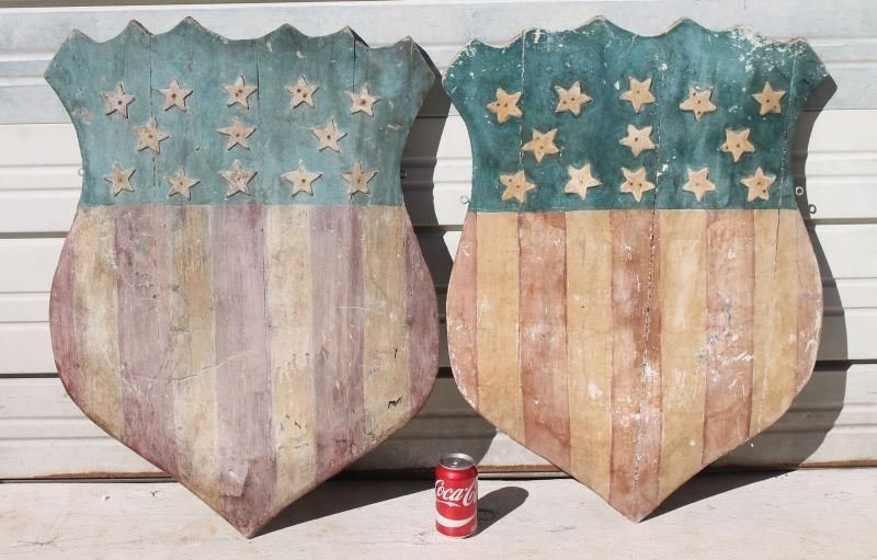 pr of wooden carved Patriotic red, white & blue parade - 2