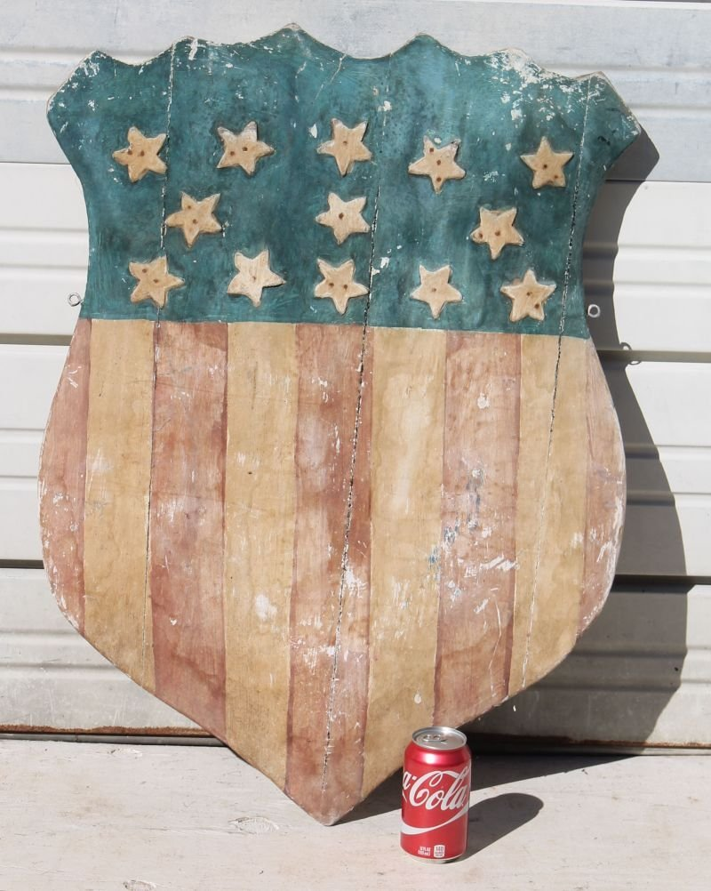 pr of wooden carved Patriotic red, white & blue parade - 3