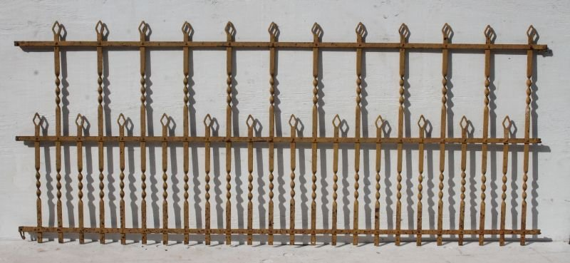 lot of three 9' long 19thC wrought iron fences in very