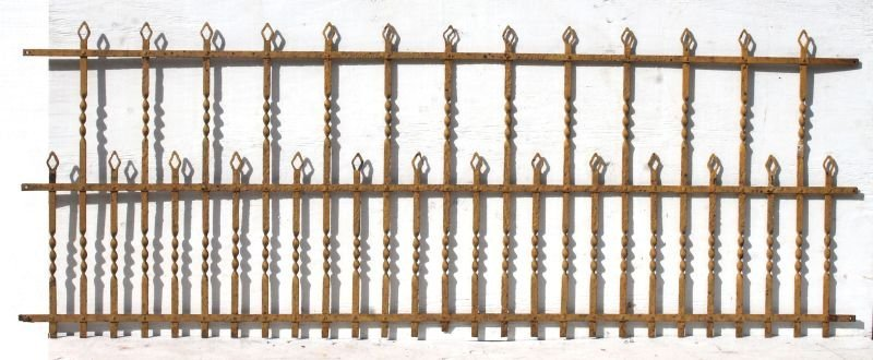 lot of three 9' long 19thC wrought iron fences in very - 2