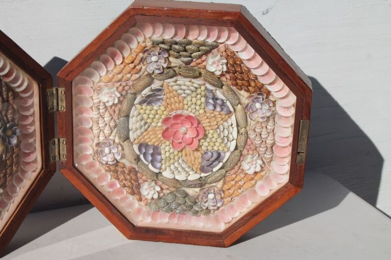 Spectacular Sailor's Valentine in octagonal box which - 3