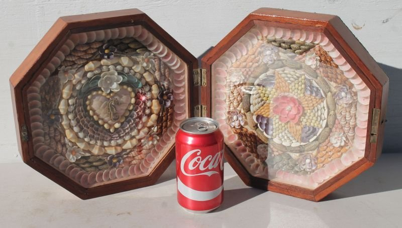 Spectacular Sailor's Valentine in octagonal box which - 5