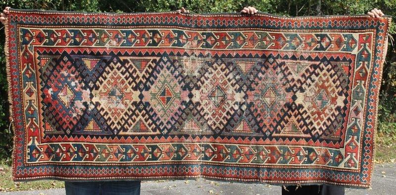 "3'4""x7'5"" antique Kazak Oriental area rug"