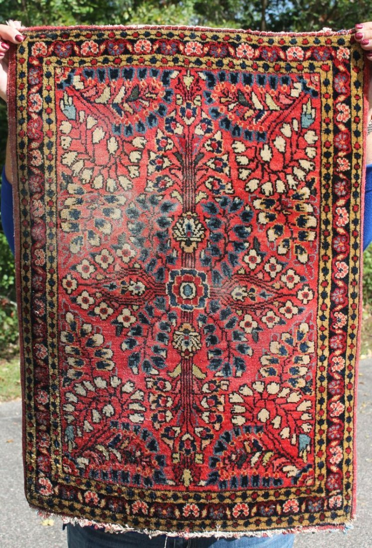 "23""x30"" antique Sarouk Oriental mat"